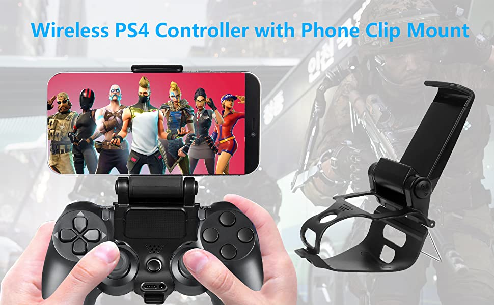 wireless ps4 controllers with phone clip mount
