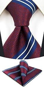 Cravatte a righe marrone per uomo con fazzoletto da taschino