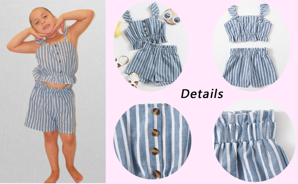 Toddler girl blue striped top and shorts set