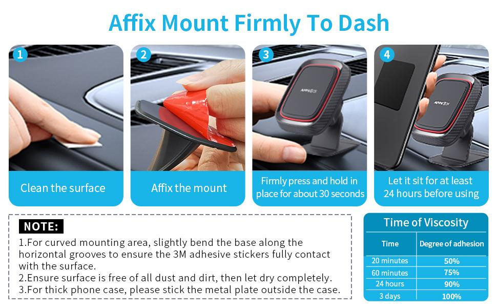 affix mount firmly to dash