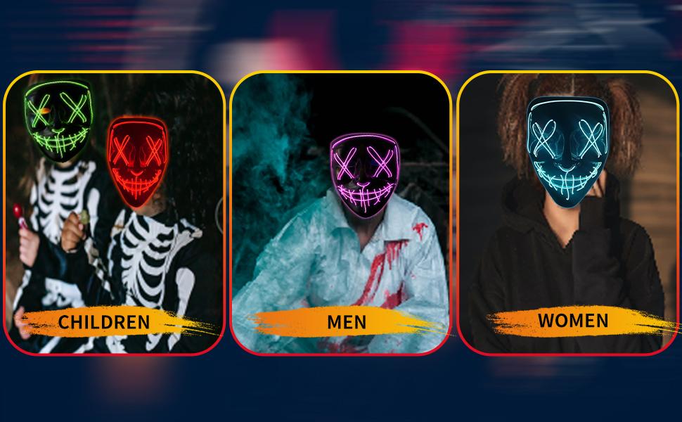Scary Halloween led mask for men women children