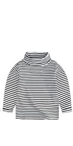 High Neck Striped Tee Shirt
