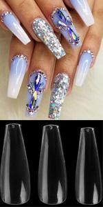 ballerina shaped coffin false fake press on nails polygel extension supplies teen kids