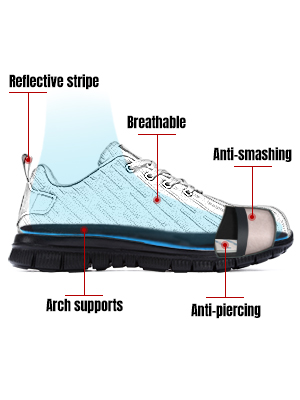 Steel Toe Shoes Women Lightweight Safety Shoes Slip Resistant Puncture Proof Indestructible Sneakers