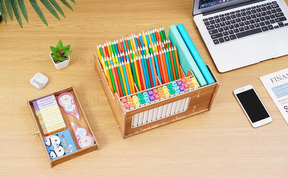 Marbrasse Wooden Desktop Organizer Storage