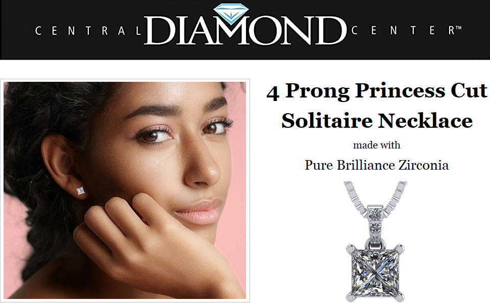 Princess Cut Solitaire Necklace, 4 Prong Sterling Silver w/Zirconia, 6.0mm, 7.0mm amp; 8.0mm