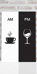 Placa Decorativa Vinho e Café AM/PM Minimalista