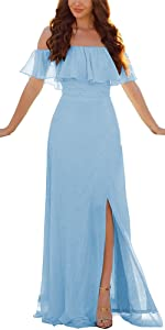 Ruffle Off The Shoulder Bridesmaid Dresses