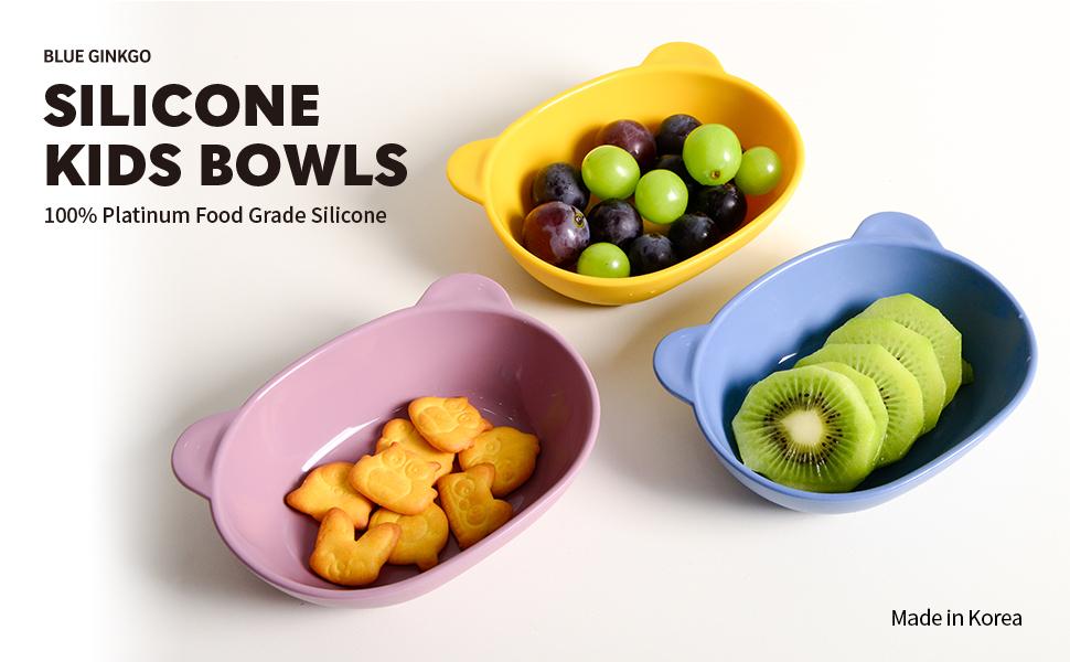 BLUE GINKGO Silicone Kids Bowls