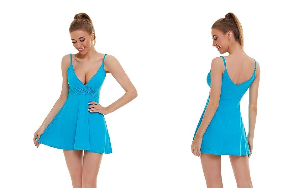Women V Neck Sexy Cami Dresses Flowy Skater Sun Dresses
