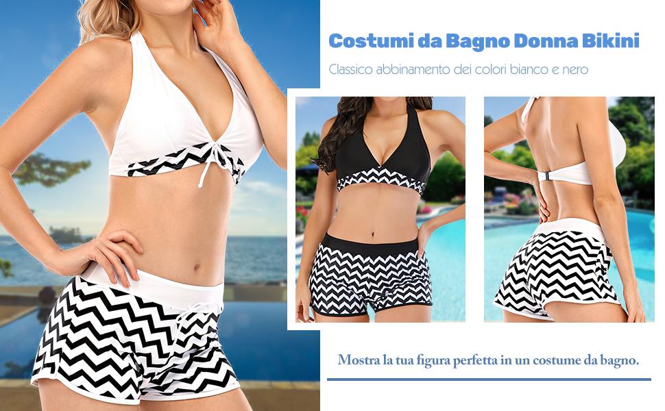 Costumi da Bagno Donna Bikini Due Pezzi Tankini Swimwear Costume a Fascia Stripe Stampati