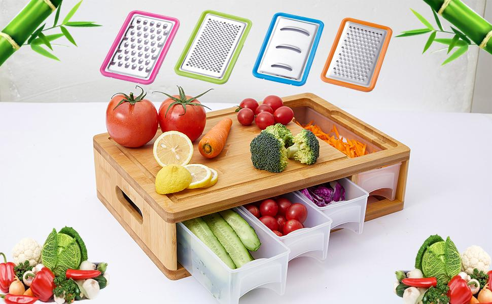 Large Kitchen Bamboo Cutting Board with Containers
