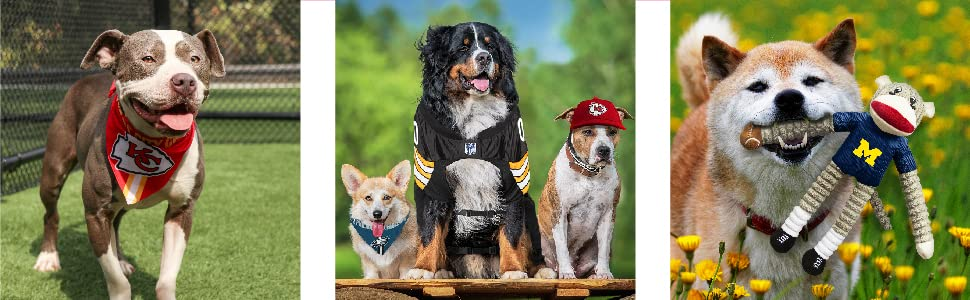 pet accessories bandana leash collar tshirt sweatshirt dog cat hat toy licensed nfl ncaa nhl fan