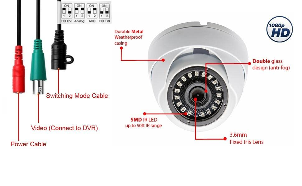 security dome camera connection cable dip switch