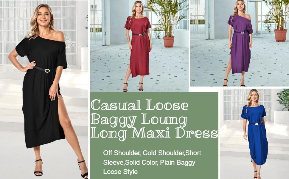 Summer Long Maxi Dress Stripe Short Sleeve Cold Shoulder Oversized Beach Dress Cover-up