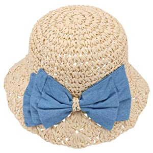 Paper Straw Hat White Bowknot