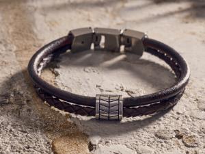 Men's Leather Multi-Strand Bracelet