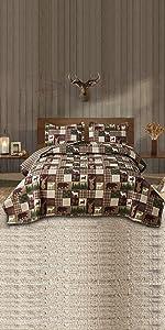 Reversible Quilt Cabin Lifestyle Design All Season Bedding Set quilt blanket