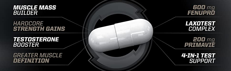 key ingredients include 600 mg of Fenupro and 200 mg of Primavie to boost testosterone