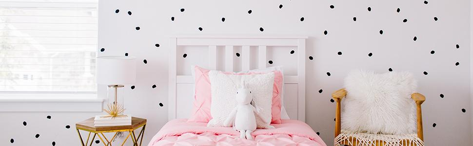 Black dot wall decals for decorating room