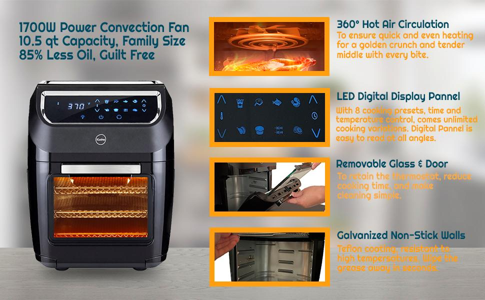 Quart Rotisserie and Dehydrator Oven, Digital LED Display 9 Accessories Mini Oven Easy to Clean