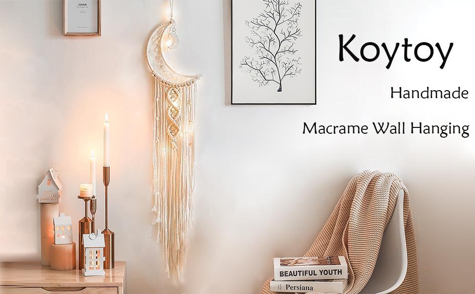 Koytoy Makramee Wandbehang Mond Traumfänger mit