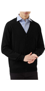 Mens Cardigan Sweater Cotton Pockets Casual Slim Fit VNeck Knitted Sweaters Button up Classic