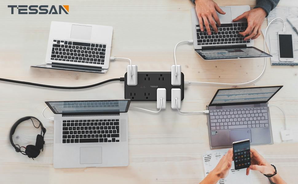 8 Outlet Surge Protector Power Strip with USB