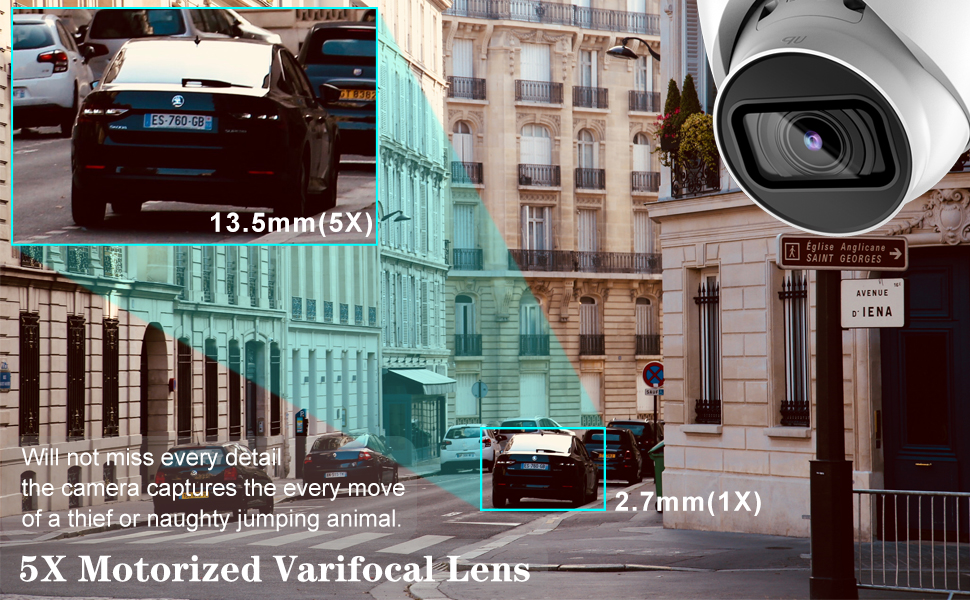 5x motorized optical zoom security camera