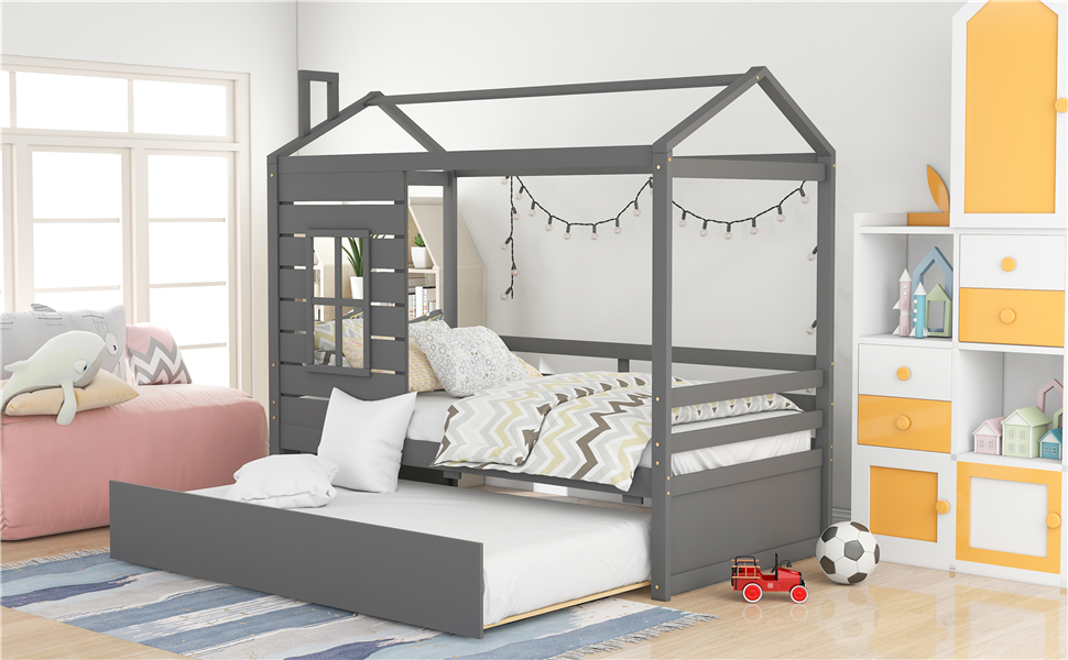 House Bed for Kids,Twin House Bed with Trundle ,House Frame Twin Bed with Trundle