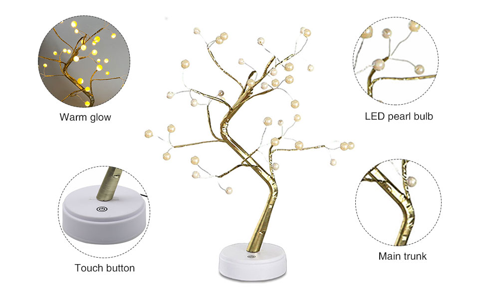 Artificial Tabletop Bonsai Tree Lights, Battery/USB Operated