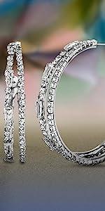 rhinestone baguette round split hoop earrings earring c hoops sparkle shiny fancy statement ear
