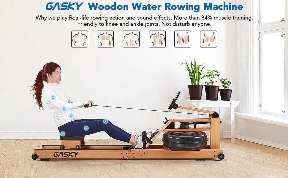 GASKY Wooden Water Rowing Machine