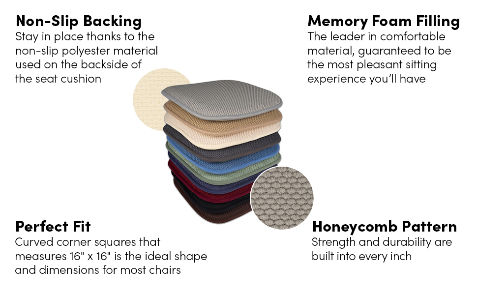 Non slip backing honey comb pattern perfect fit memory foam