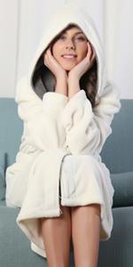 KEMUSI Hood Womens Cream Full Length Bathrobe