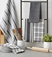 Gray assorted dishtowel collection in a kitchen