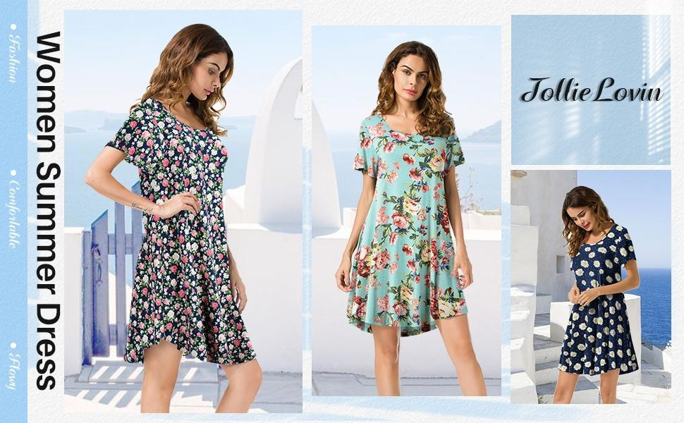Summer Floral Dress Tie Dye Tunic Checkered Plaid Shirt Dress Knee Length Summer Dress