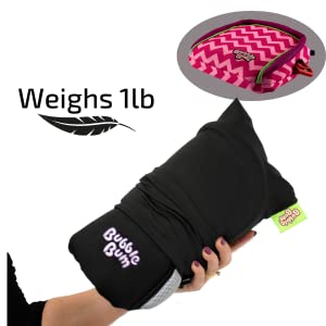 A hand holding the BubbleBum Portable Car Booster Seat