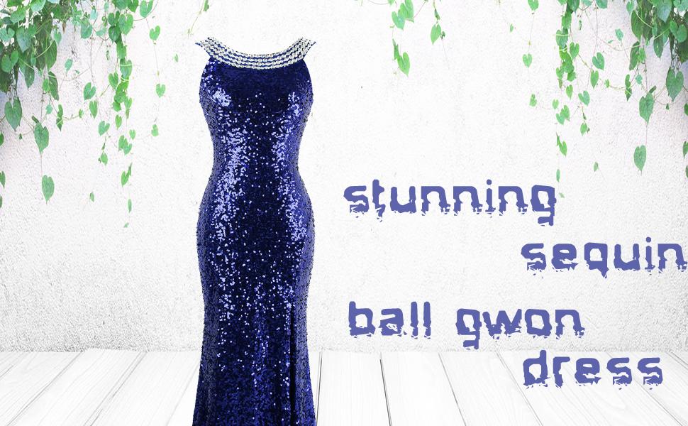 beading sequin prom dress sexy