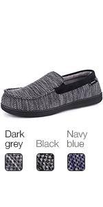 MERRIMAC Mens Cozy Knit Moccasin Slippers Coral Fleece Lined House Shoes With Removable Insole