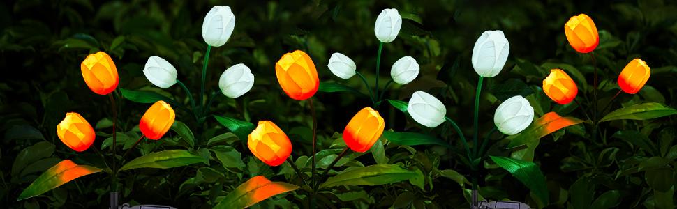 solar flowers garden light outdoor decorative