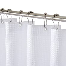 COSEVIER Beige Ombre Waffle Shower Curtain with Tassel for Bathroom