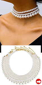 Round White Pearl Necklace Choker