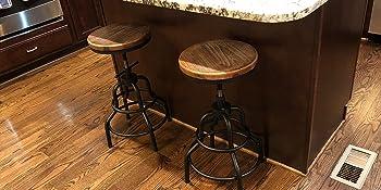 vintage metal desk stools wood top