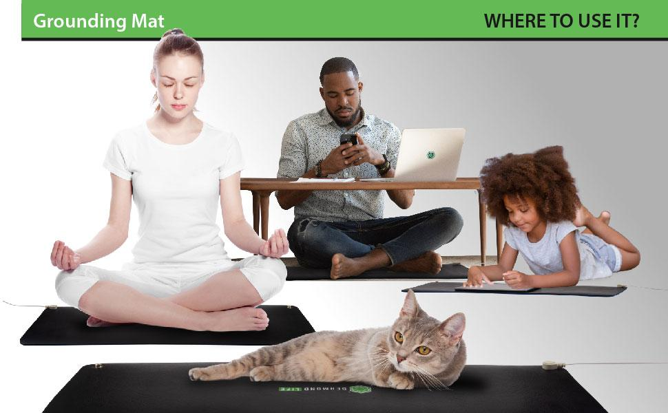 People and pets using the mat, whle using electronics in the home.