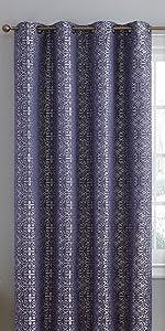 Mia Collection Grommet Window Curtain Navy Blue