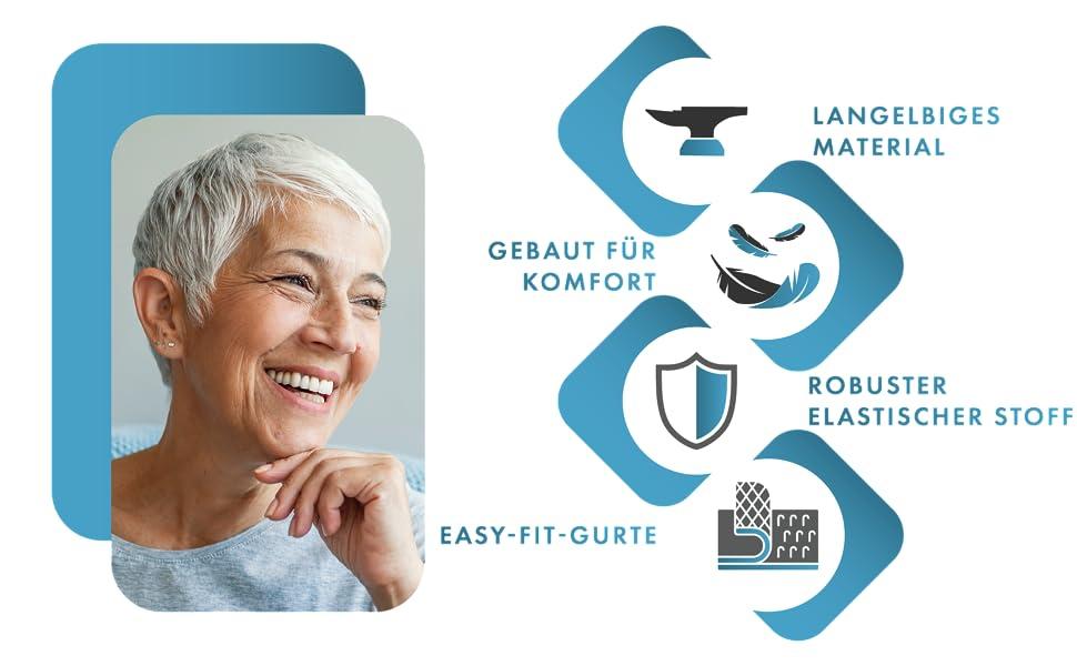 langelbiges material Gebaut für Komfort Robuster elastischer Stoff Easy-Fit-Gurte