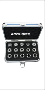 Accusize Metric ER25 15 Piece Collet Set 2 mm to 16 mm by 1 mm 3350-0584