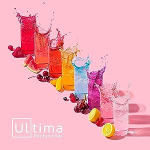 Ultima Replenisher logo next to a rainbow of fruity drinks