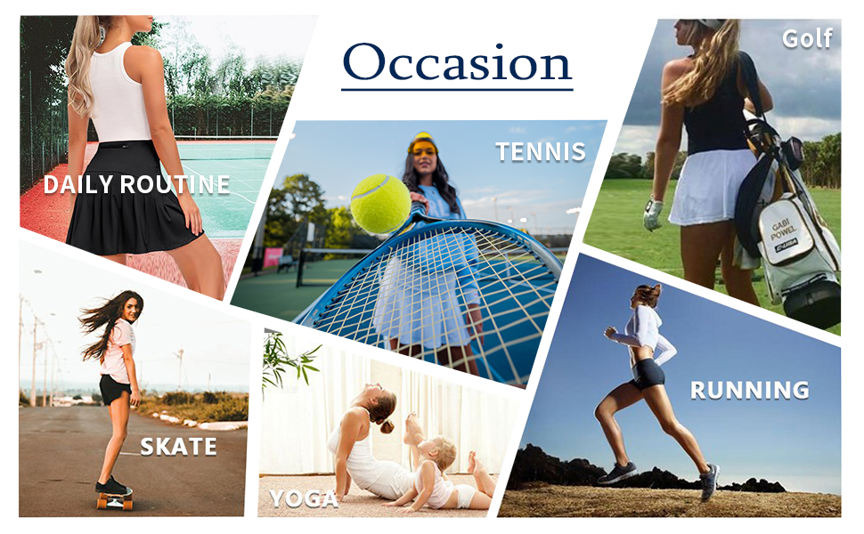 Occasions of athletic skirt with shorg, skating, daily, tennis, golf, yogats, runnin